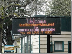 A public sign at Coos Bay, part of the 'Bring Lee Hopkins and Allan Jenkins to Coos Bay' campaign