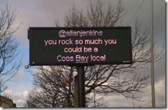 coosbayrocks - A public sign at Coos Bay, part of the 'Bring Lee Hopkins and Allan Jenkins to Coos Bay' campaign